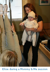 Pilates in Los Angeles - Elise Modrovich doing Mommy and Me with a client
